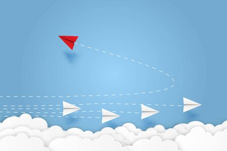 Red paper plane changing direction new idea different business concept paper art cut style vector illustration. Ilustrace