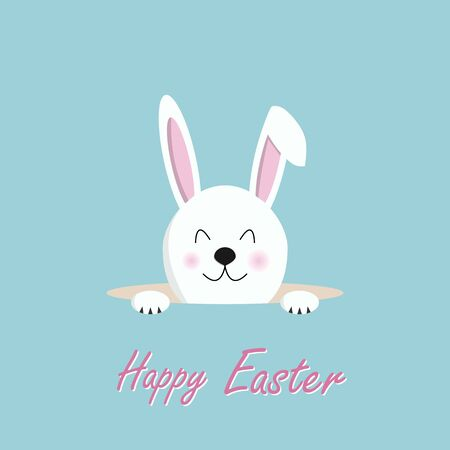 Happy Easter text with rabbit pokes his head out of the hole on green background for postcard, card, invitation, poster, banner template lettering typography. Seasons Greetings