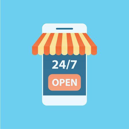 Mobile online store vector Electronic online shop market. Digital marketing.  Illustration business design. Illusztráció