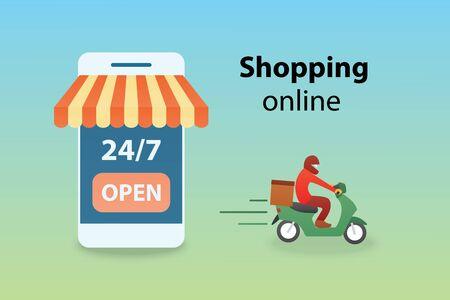 Shopping online on mobile application  or website digital marketing concept vector illustration.