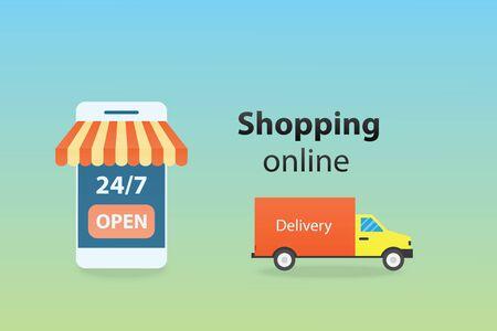 Shopping online on mobile application or website digital marketing concept vector illustration. Illusztráció