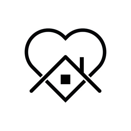 Stay home icon vector heart and home sign for graphic design, logo, web site, social media, mobile app, ui illustration