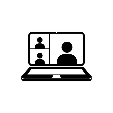 Video conference icon vector digital communication home office in quarantine times internet teaching media people on computer screen for graphic design, logo, web site, social media, mobile app, ui