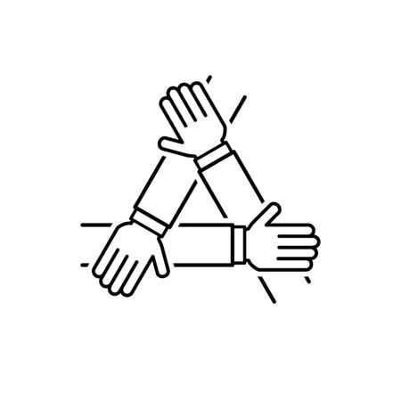 Three hands support outline icon vector teamwork concept for graphic design, logo, web site, social media, mobile app, ui illustration 向量圖像