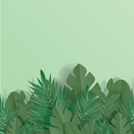 Green leaves frame on green background. Trendy origami paper art cut style illustration.