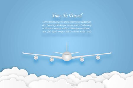 Love to travel airplane flying with blue sky and cloud air transportation concept copy space for text. vector illustration