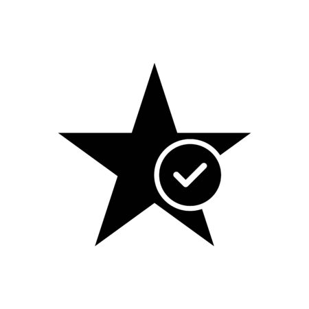 Star favorite vector icon with tick sign isolate on white background for graphic design, logo, web site, social media, mobile app, ui illustration Illustration