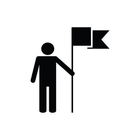 Destination icon vector man with flag sign for graphic design, logo, web site, social media, mobile app, ui illustration Illusztráció