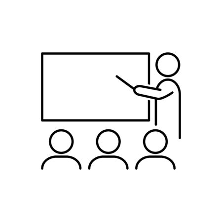 Training workshop outline icon vector for graphic design, logo, web site, social media, mobile app, ui illustration