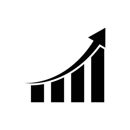 Growth graph business chart vector icon finance, accounting, insurance concept for graphic design, logo, web site, social media, mobile app, ui illustration