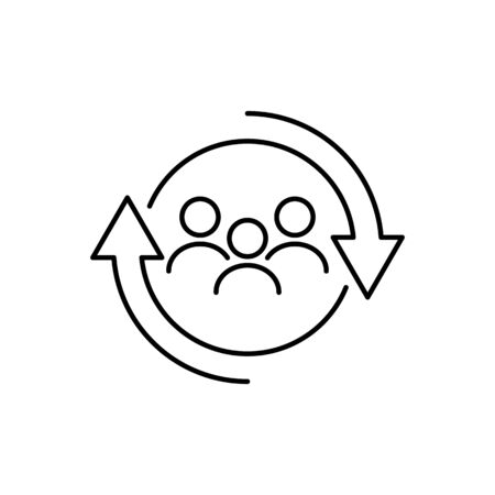 Personnel change outline icon vector people in round cycle symbol human resource concept for graphic design, logo, web site, social media, mobile app, ui illustration