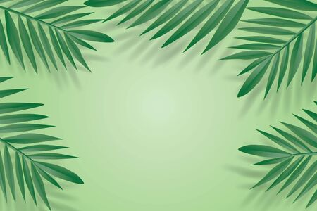 Tropical palm green leaves frame on green background. Trendy origami paper cut style illustration. Stock fotó
