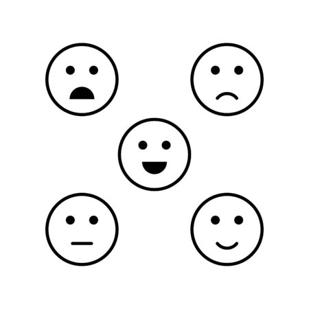 Set of emoticon satisfaction level icon vector. Excellent, good, normal, bad, awful. Customer feedback experience for graphic design, logo, web site, social media, mobile app, ui illustration Illustration
