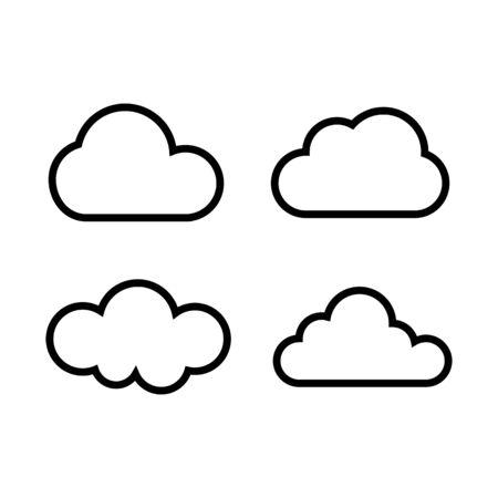 Cloud outline vector icon set for graphic design, logo, web site, social media, mobile app, ui illustration