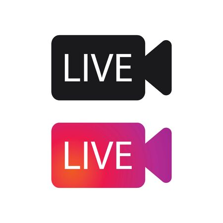 Live streaming flat vector icon for news,radio,TV or online broadcasting illustration