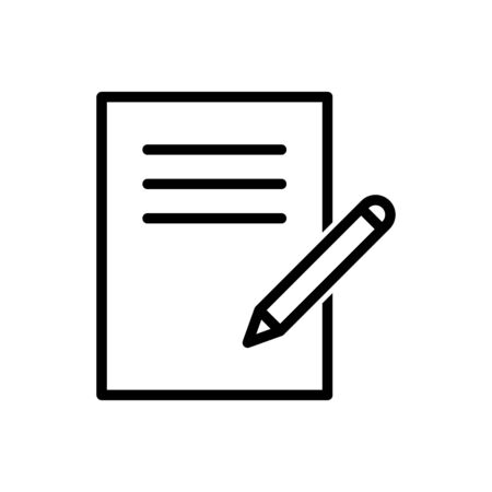 Desk, notepad, paper, pencil outline icon vector for graphic design, logo, web site, social media, mobile app, ui illustration