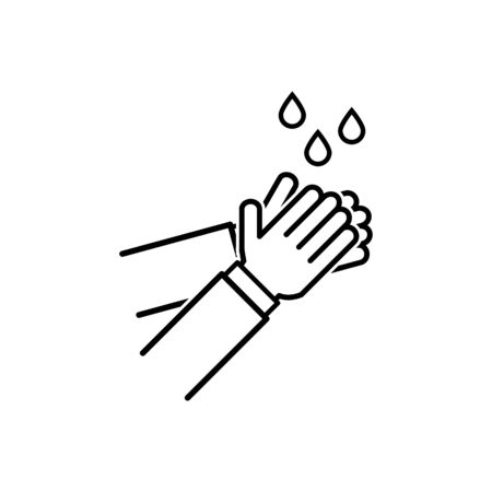 Wash / washing hands to keep clean outline icon vector for graphic design, logo, web site, social media, mobile app, ui illustration