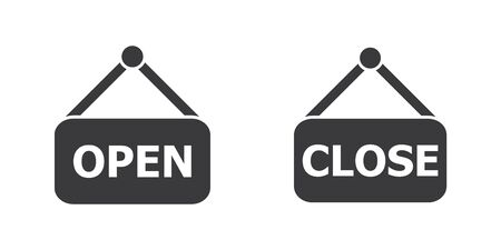 Open and close label hanging door sign icon vector for graphic design, logo, web site, social media, mobile app, ui illustration