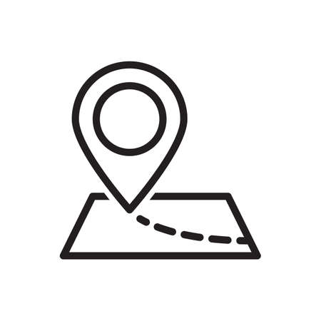 Map pointer icon vector illustration. GPS location symbol with with pin pointer for graphic design, logo, web site, social media, mobile app, ui Illustration