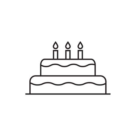 Birthday cake vector icon birthday celebration with three candles for graphic design, logo, web site, social media, mobile app, ui illustration