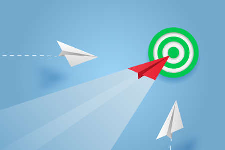 Paper plane go to success goal vector business financial concept start up, leadership, creative idea symbol paper art style with copy space for text. illustration