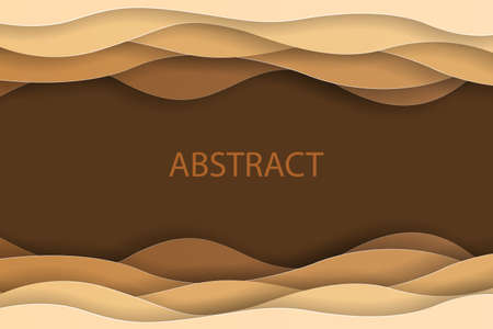 Paper art abstract brown water waves. Origami design template. Vector illustration