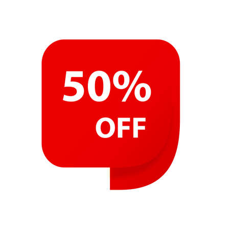 Sale 50% OFF discount sticker icon vector Red tag discount offer price label for graphic design, logo, web site, social media, mobile app, ui illustration