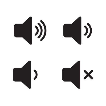 Set of speaker volume flat vactor icon. Symbols on, off, mute, high, low sound signs for graphic design, logo, web site, social media, mobile app, ui illustration