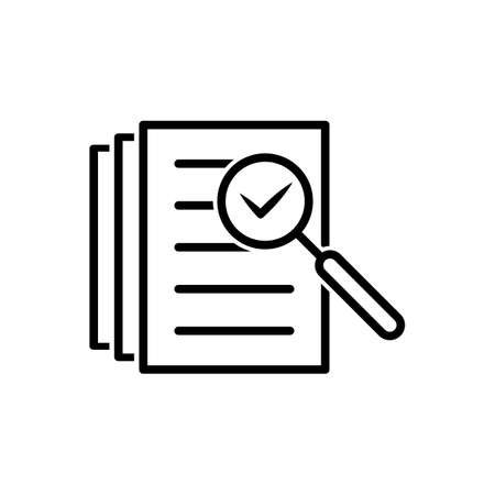 Audit icon vector magnifying glass like check assess. verify service critique process, scrutiny plan for graphic design, web site, social media, mobile app, ui