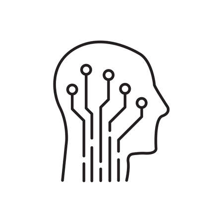 Human head with circuit board vector icon. Artificial intelligence symbol. Neurology solid sign for graphic design, logo, web site, social media, mobile app, ui illustration
