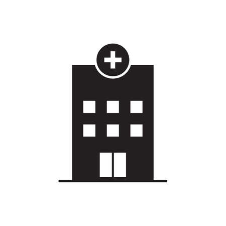 Medical hospital building with cross vector icon for health care concept for graphic design, logo, web site, social media, mobile app, ui illustration. Illustration