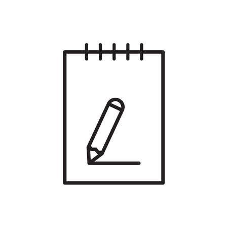 Desk, notepad, paper, pencil outline icon vector for graphic design,   web site, social media, mobile app, ui illustration