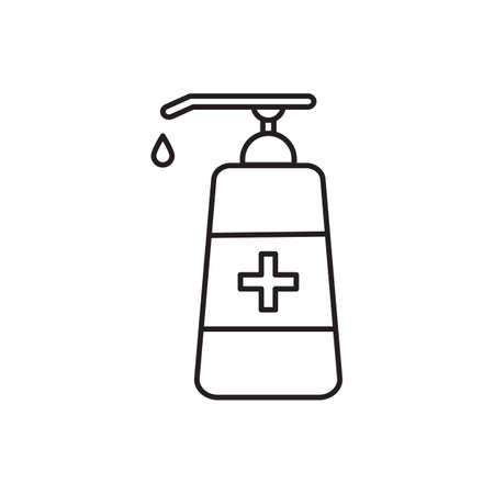 Hand sanitizer outline icon vector for graphic design,   web site, social media, mobile app, ui illustration Illustration
