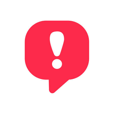 Exclamation vector icon attention logo warning speech bubble important round mark.