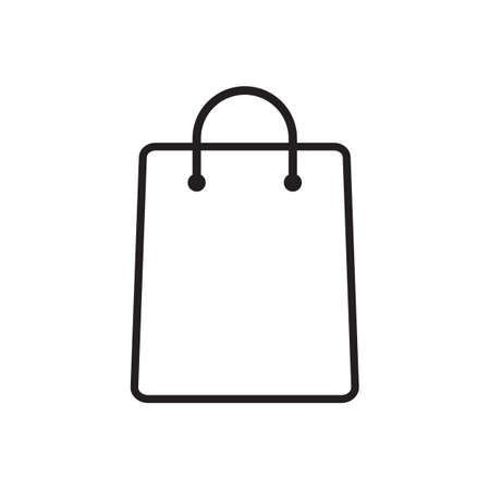 Shopping bag outline icon vector isolated on white background for graphic design,  web site, social media, mobile app, illustration