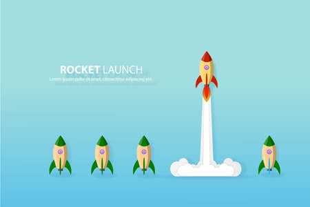 Think different,the rocket flying to the sky move for success in life concept of courage, enterprise, confidence, belief, fearless, daring, leadership vector illustration
