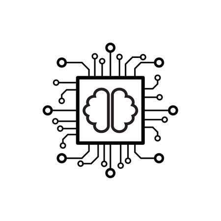 Artificial intelligence AI processor chip vector icon symbol for graphic design, logo, web site, social media, mobile app, ui illustration