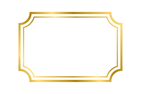 Gold shiny glowing vintage rectangle frame with shadows isolated on white background. Gold realistic rectangle border for decoration, photo, banner. Vector illustration. Vector illustration Ilustração Vetorial