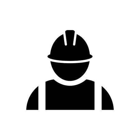 Construction worker icon vector Person profile avatar with helmet and jacket