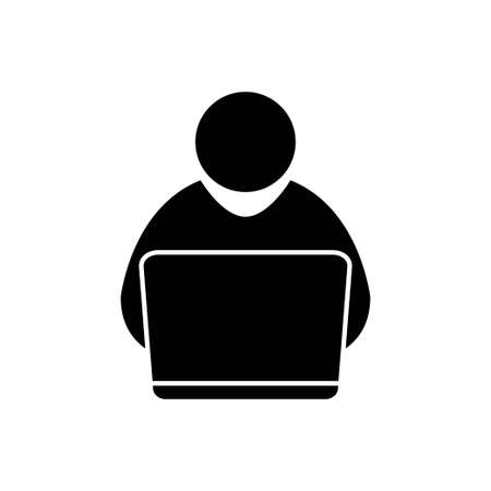 Man with laptop icon vector working office concept