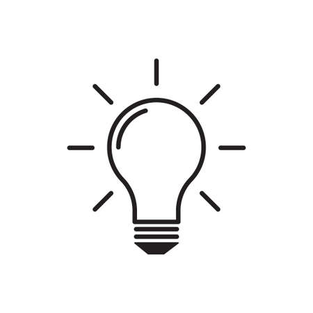 Light Bulb outline icon vector idea sign, solution, thinking concept. Lighting Electric lamp. Electricity, shine for your web site design, logo, app, UI. illustration Ilustrace
