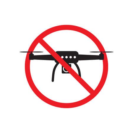 No drone zone sign flights with drone prohibited ban stop sign vector illustration for graphic design, web site, social media, mobile app, ui Ilustrace