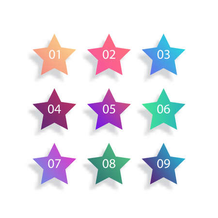 Star bullet point set on white background. Colorful gradient markers with number from 1 to 9 for your design. vector illustration