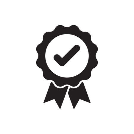 Best quality badge, approval check mark with ribbons icon vector for graphic design.