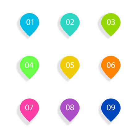 Number Bullet Points Flat Circles set on white background. Colorful color with number from 01 to 09 for your design. vector illustration Ilustrace