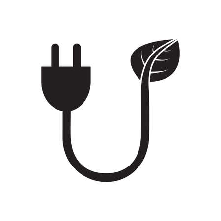 Eco energy plug in vector icon Save energy stem leaves with electric plug ecology concept for graphic design,  web site, social media, mobile app, ui illustration