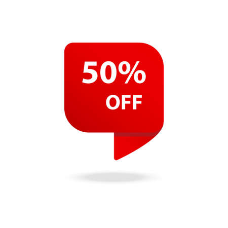 Sale 50% OFF discount sticker icon vector Red tag discount offer price label for graphic design,  web site, social media, mobile app, ui illustration