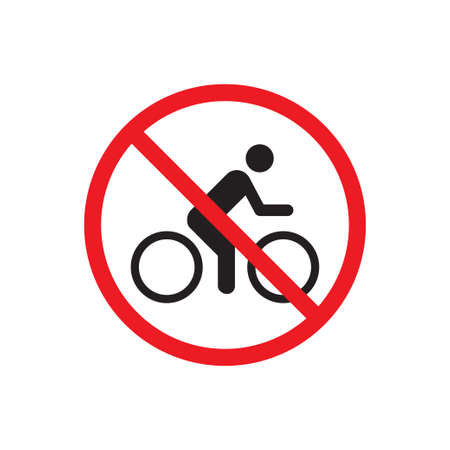 No bicycle ride vector icon. Forbidden bicycling sign. Warning, caution, attention, restriction, danger symbol for graphic design, web site, social media, mobile app, ui illustration