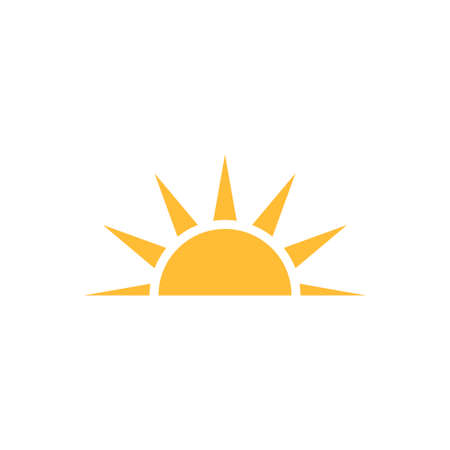 A half sun is setting downwards icon vector sunset concept for graphic design, logo, web site, social media, mobile app, ui illustration