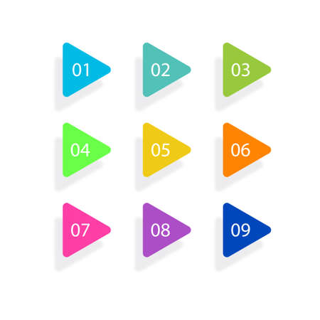 Number Bullet Points Flat Triangles set on white background. Colorful color with number from 01 to 09 for your design. vector illustration